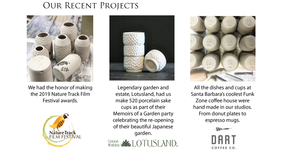 Global Eye Art Co.'s recent projects: Naturtrack Film Festival Awards, Lotusland sake cups, and Dart mugs and dishes.